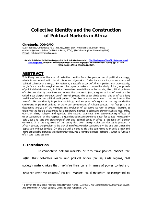 PDF) Collective Identity and the Construction of Political