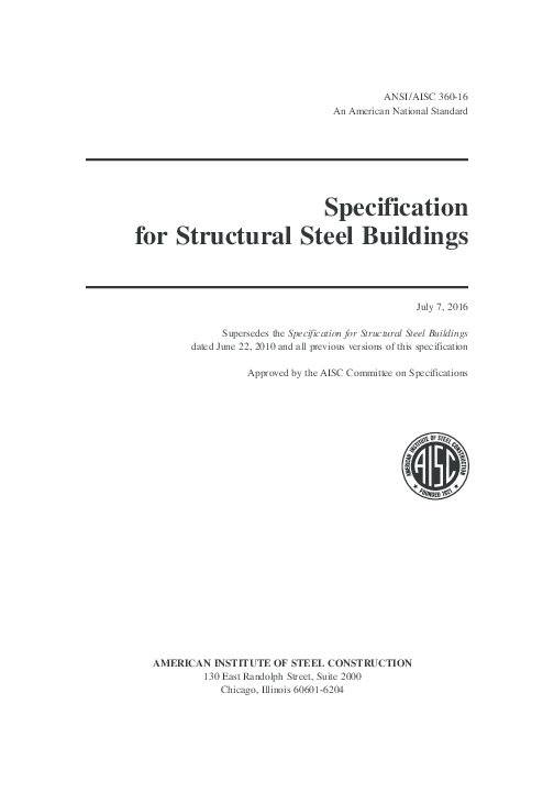 PDF) Specification for Structural Steel Buildings 2016