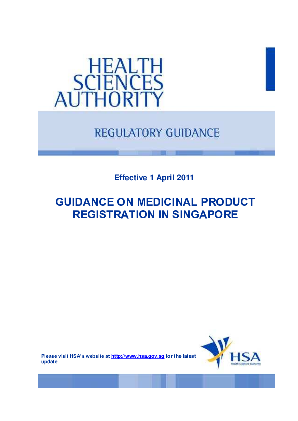 PDF) GUIDANCE ON MEDICINAL PRODUCT REGISTRATION IN SINGAPORE