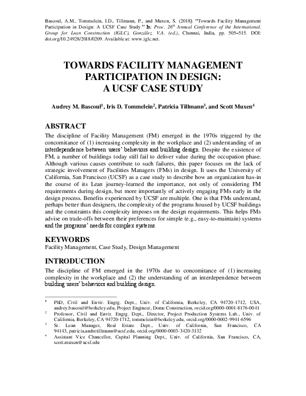 PDF) Towards Facility Management Participation in Design: A UCSF