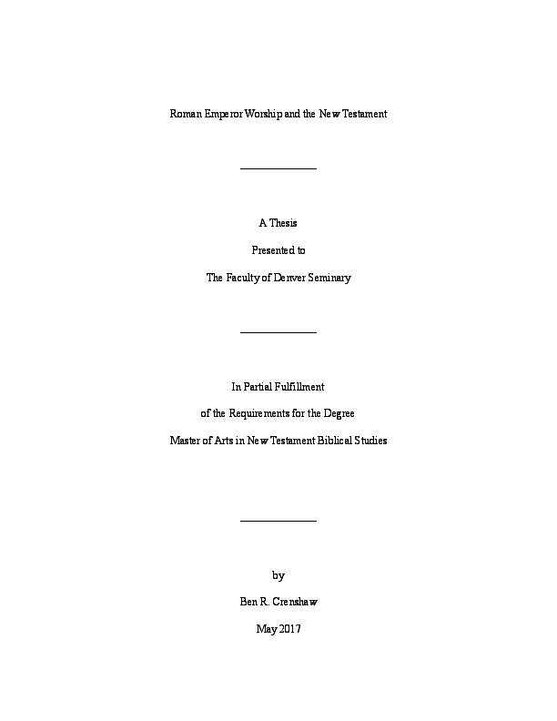 PDF) Roman Emperor Worship and the New Testament | Ben R