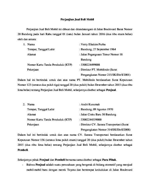 Doc Perjanjian Jual Beli Mobil Yola Maulin Peryogawati
