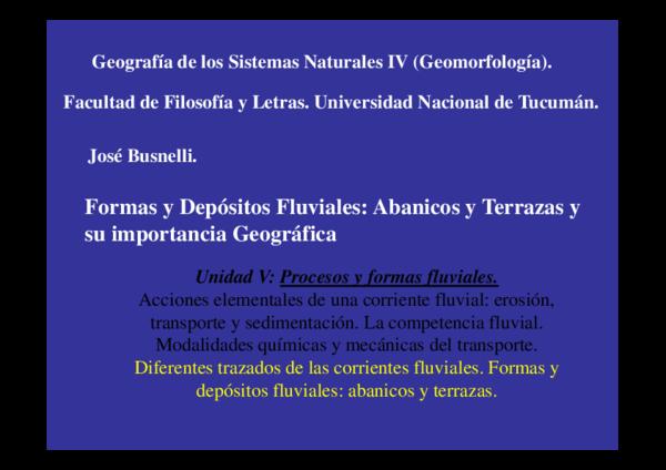 Pdf Formas Y Depósitos Fluviales Abanicos Y Terrazas Y Su