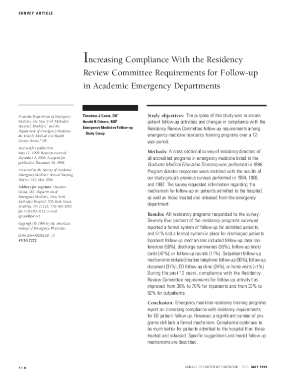 PDF) Increasing Compliance With the Residency Review