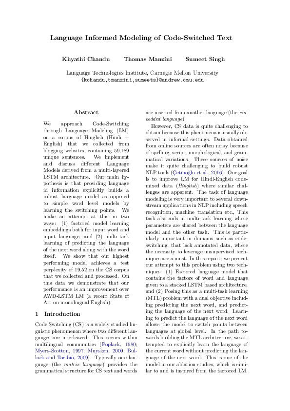 PDF) Language Informed Modeling of Code-Switched Text   Thomas R