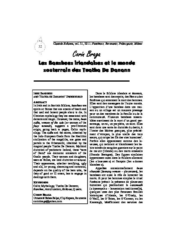 PDF) Les Banshees irlandaises et le monde souterrain des Tuatha De ...