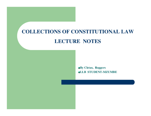 PDF) COLLECTIONS OF CONSTITUTIONAL LAW LECTURE NOTES | p dozen