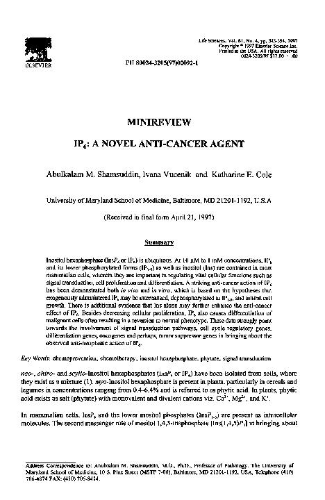 PDF) IP6: A novel anti-cancer agent | Abulkalam Shamsuddin