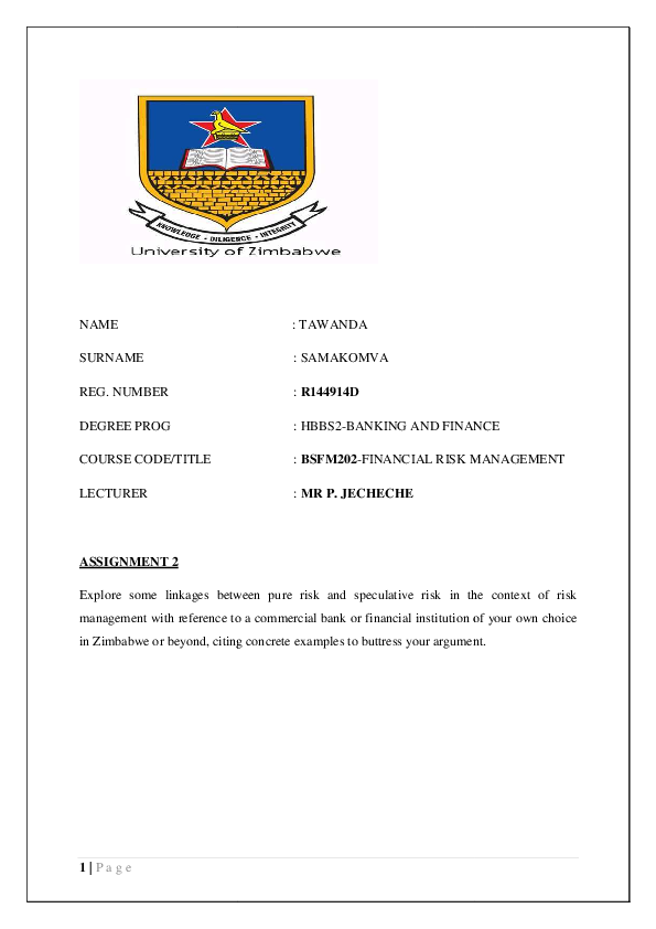 PDF) RISK MANAGEMENT | Tawanda B Samakomva - Academia edu