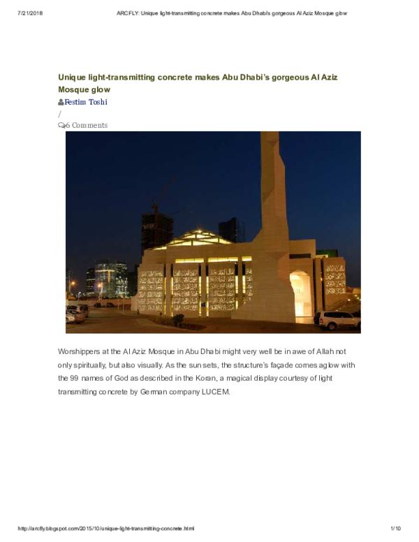 PDF) Unique light-transmitting concrete makes Abu Dhabi's gorgeous