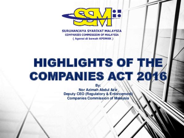 Pdf Highlights Of The Companies Act 2016 Hong Onn Academia Edu