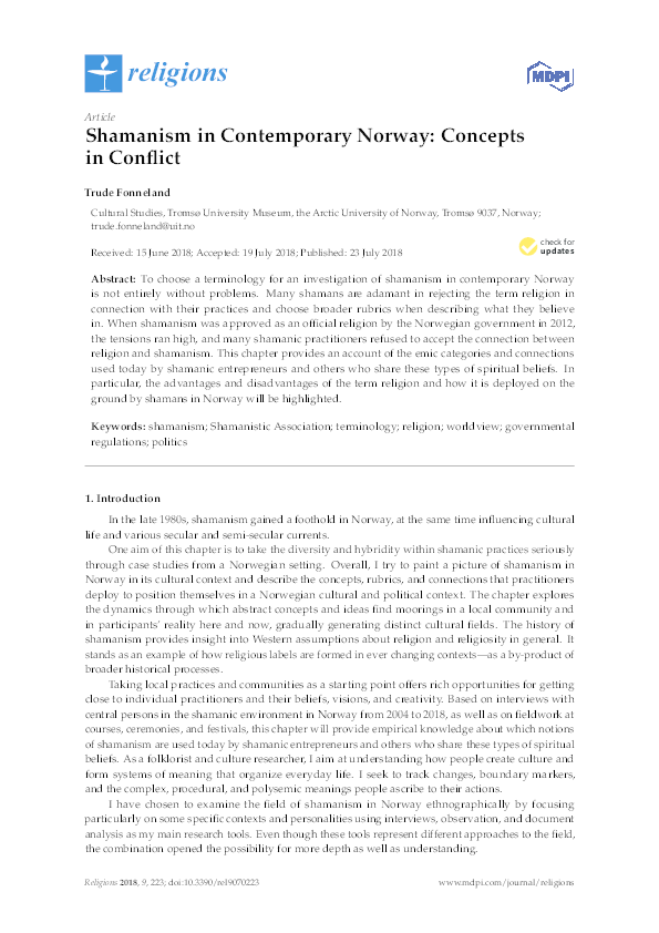 PDF) Shamanism in Contemporary Norway: Concepts in Conflict