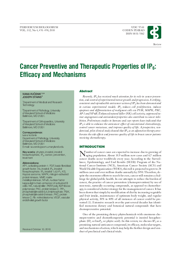 PDF) Cancer Preventive and Therapeutic Properties of IP6