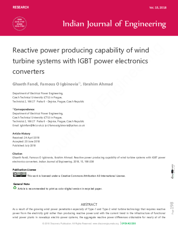 PDF) Reactive power producing capability of wind turbine systems
