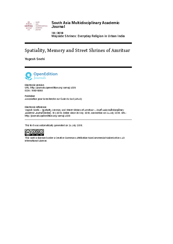 PDF) Spatiality, Memory and Street Shrines of Amritsar