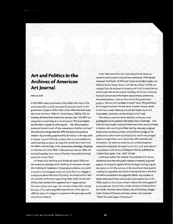 Archives American Art Journal