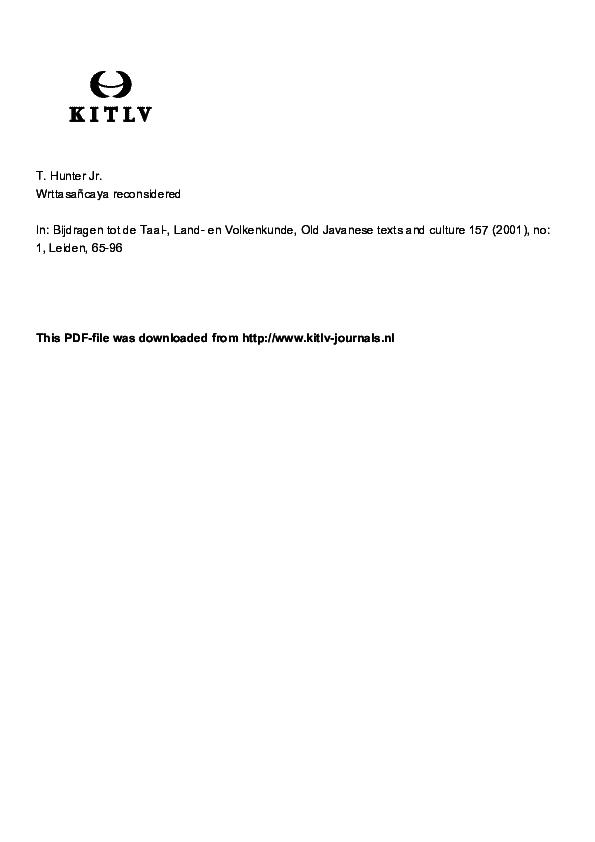 PDF) Wrttasancaya Revisited (BKI 2001) | Thomas M Hunter