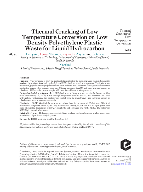 PDF) Thermal Cracking of Low Temperature Conversion on Low