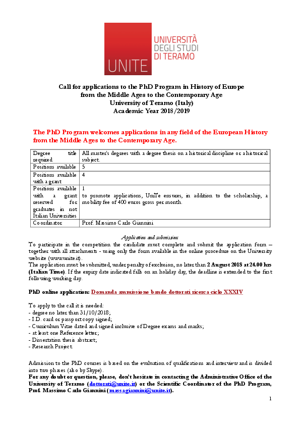 PDF) Call for applications to the PhD Program History of