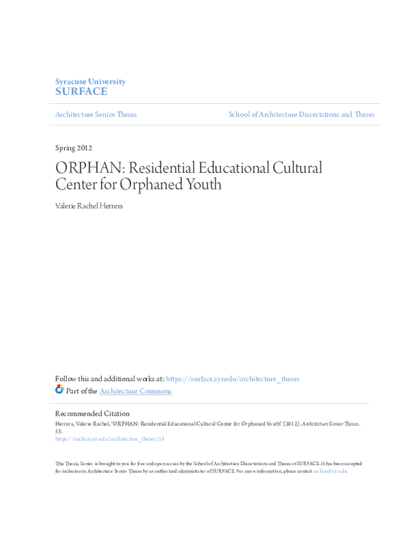 PDF) ORPHAN: Residential Educational Cultural Center for Orphaned