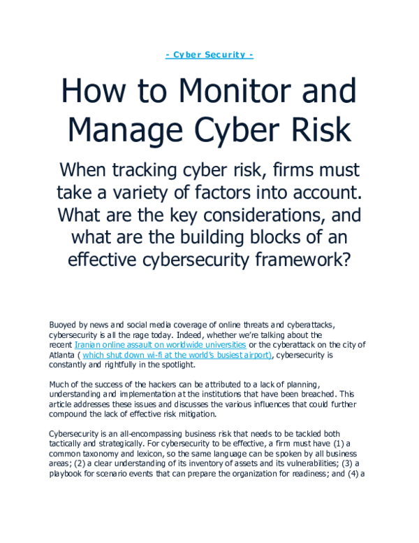 PDF) How to Monitor and Manage Cyber Risk | Risk Smart Inc