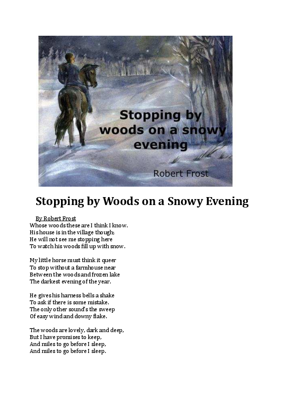 Stopping By Woods On A Snowy Evening Pdf