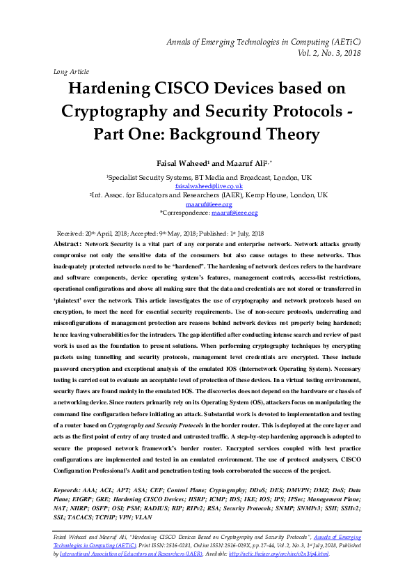 PDF) Hardening CISCO Devices based on Cryptography and Security