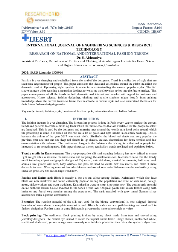 Pdf Research On National And International Fashion Trends Ijesrt Journal Academia Edu