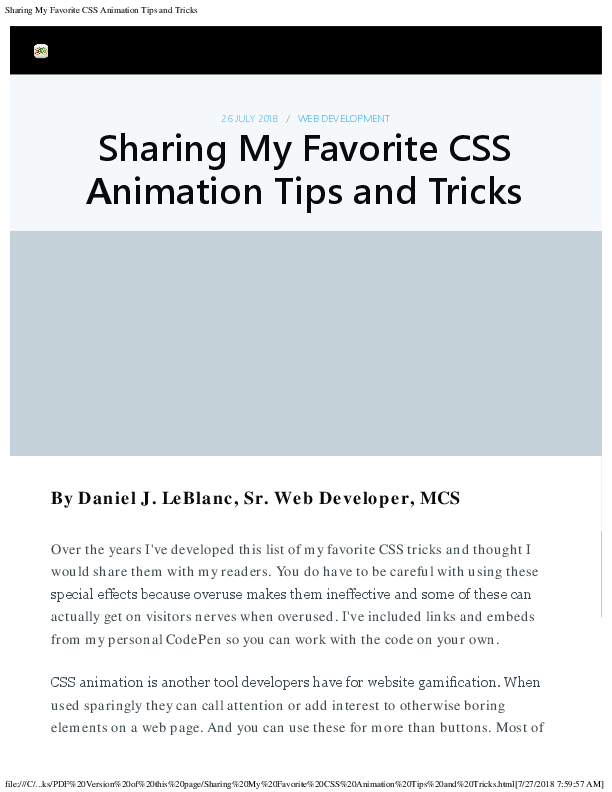 Sharing My Favorite CSS Animation Tips and Tricks | Daniel J LeBlanc