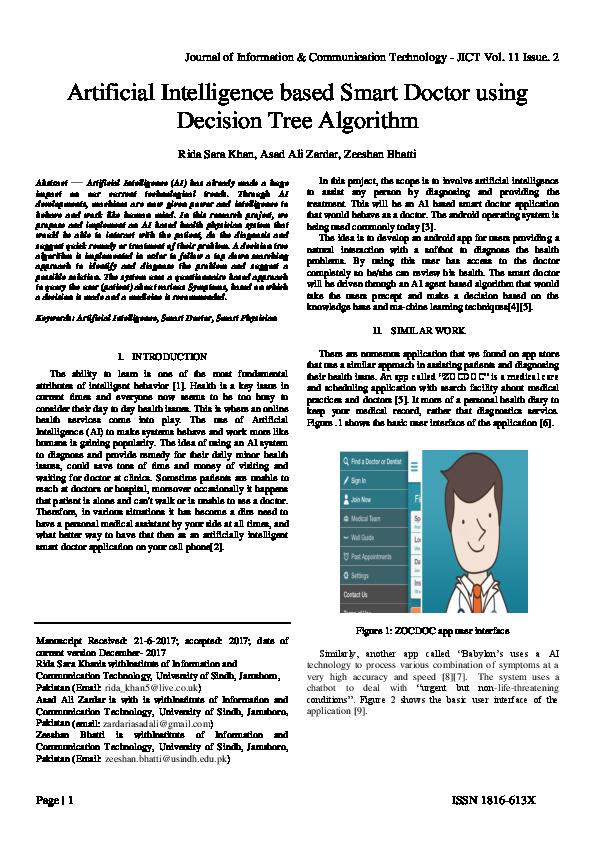 PDF) Artificial Intelligence based Smart Doctor using