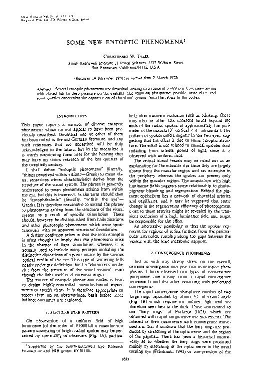 PDF) Some new entoptic phenomena | Christopher Tyler
