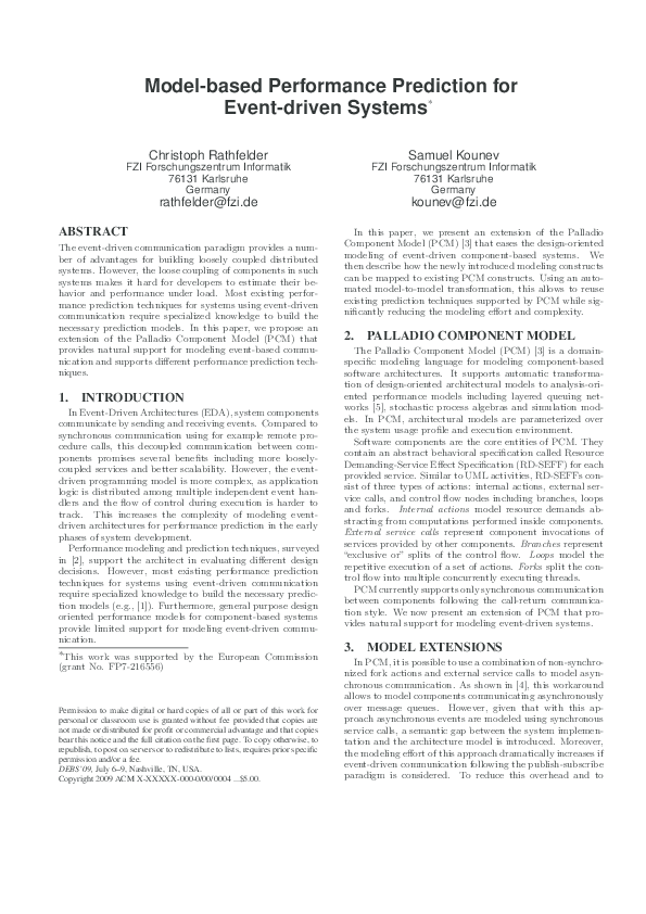 Pdf Model Based Performance Prediction For Event Driven Systems Christoph Rathfelder Academia Edu