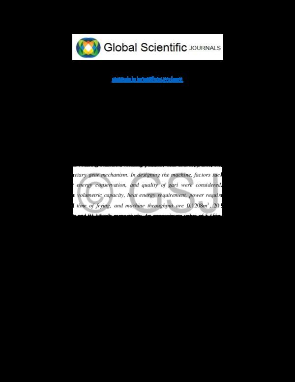 PDF) DESIGN ANALYSIS OF A CASSAVA MASH ROASTER | Peter