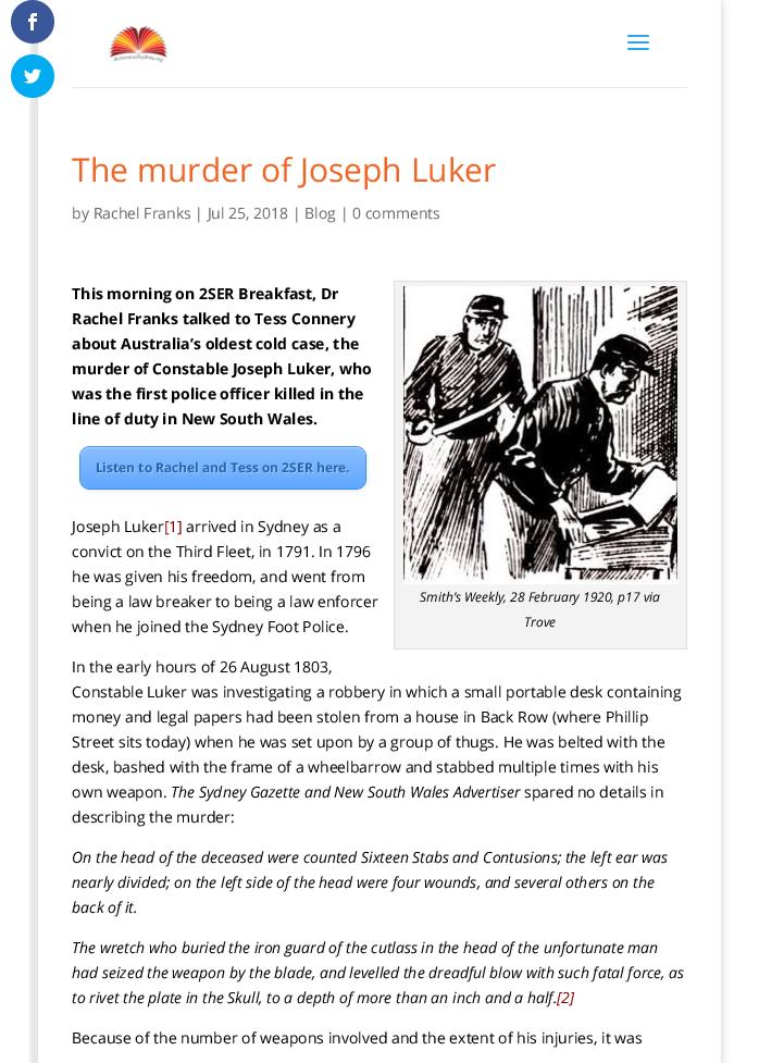PDF) Blog: The Murder of Joseph Luker | Rachel Franks