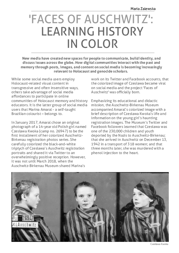 PDF) 'Faces of Auschwitz': Learning History in Color | Maria