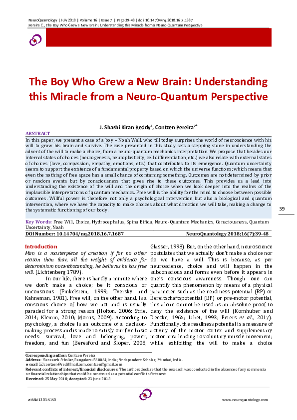 PDF) The Boy Who Grew a New Brain: Understanding this Miracle from a