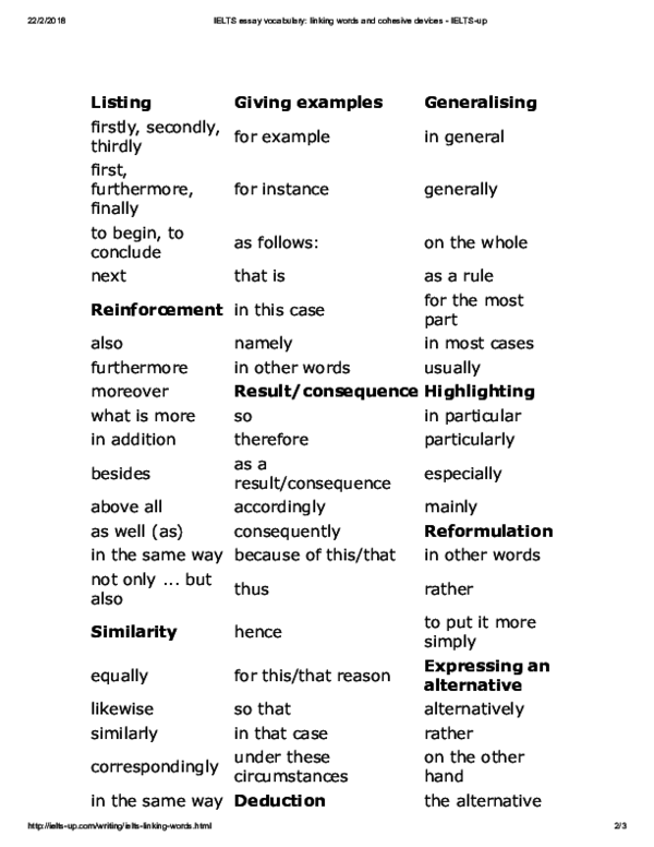 PDF) IELTS essay vocabulary linking words and cohesive devices IELTS