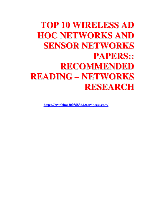 Ad Hoc And Sensor Networks Pdf
