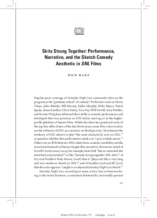 Pdf Skits Strung Together Performance Narrative And The Sketch Comedy Aesthetic In Snl Films Nick Marx Academia Edu