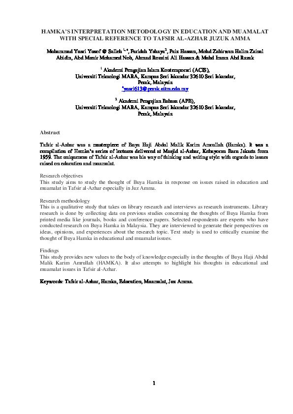 PDF) HAMKA'S INTERPRETATION METODOLOGY IN EDUCATION AND
