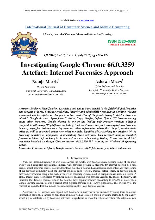 PDF) Investigating Google Chrome 66 0 3359 Artefact