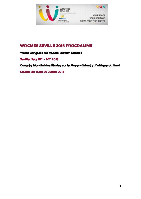 PDF) WOCMES SEVILLE 2018 PROGRAMME World Congress for Middle