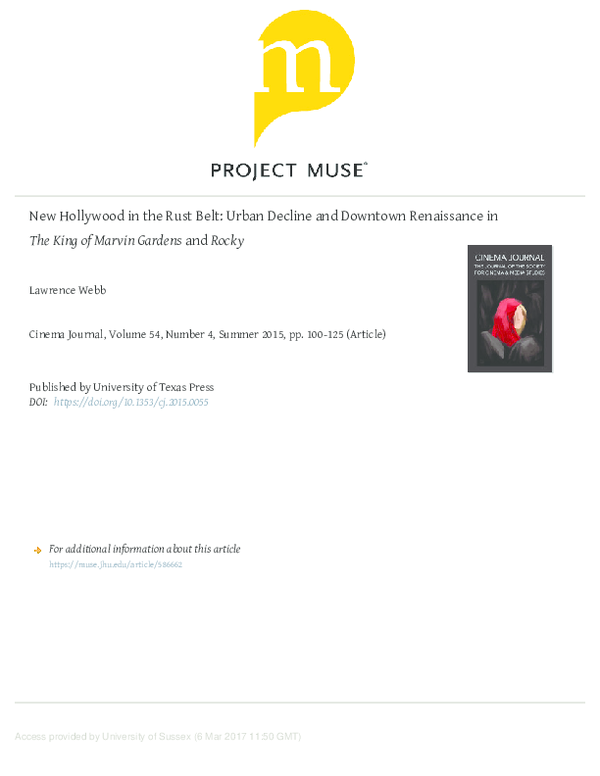 PDF) New Hollywood in the Rust Belt: Urban Decline and Downtown