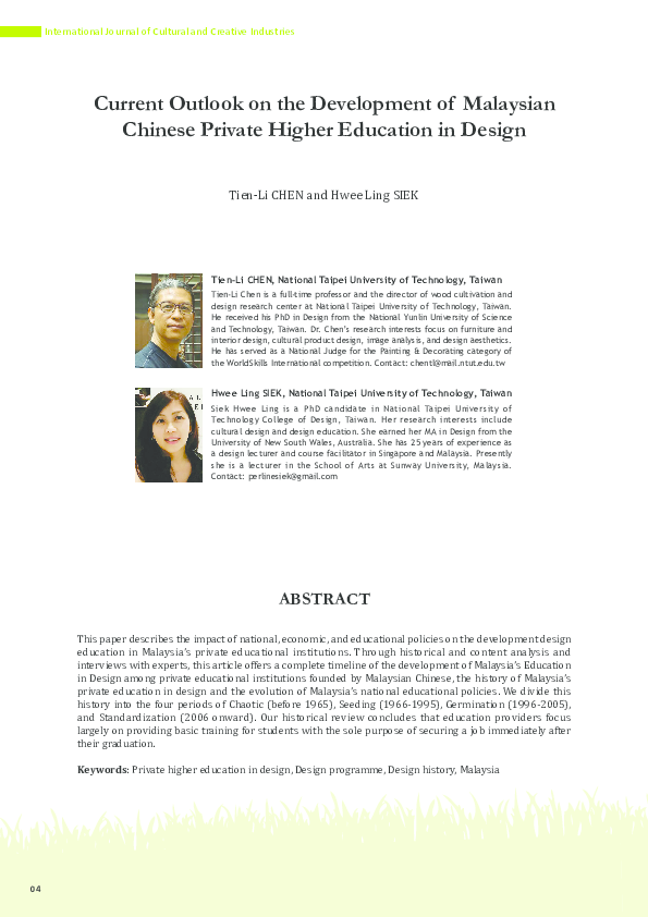 Pdf International Journal Of Cultural And Creative Industries Current Outlook On The Development Of Malaysian Chinese Private Higher Education In Design Perline Siek And Tien Li Chen Academia Edu