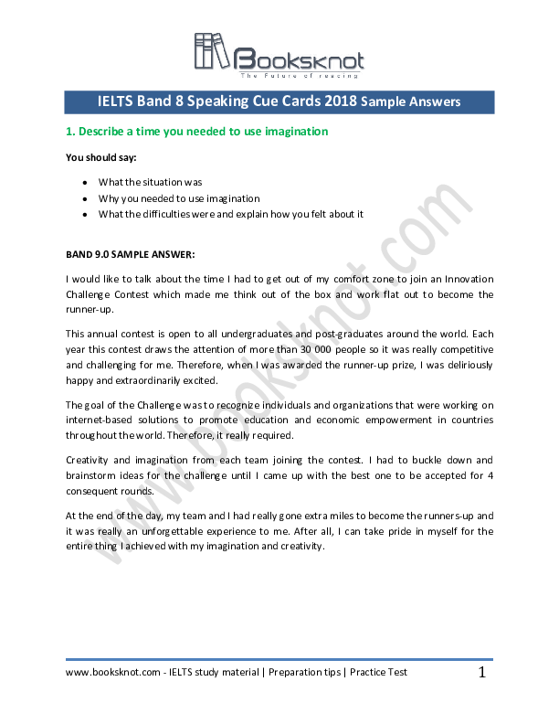 PDF) IELTS Band 8 Speaking Cue Cards 2018 Sample Answers | Booksknot