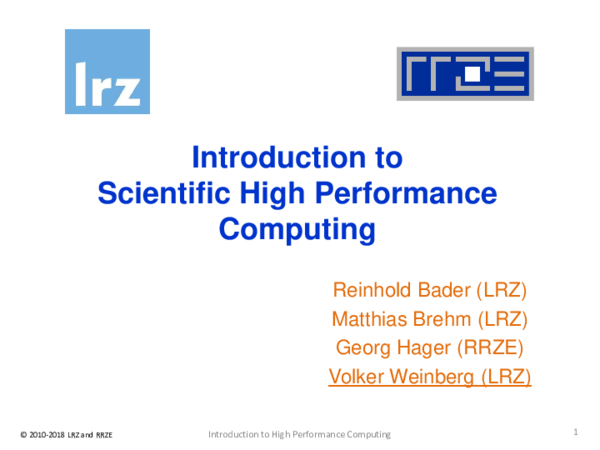 PDF) Introduction to Scientific High Performance Computing | Volker