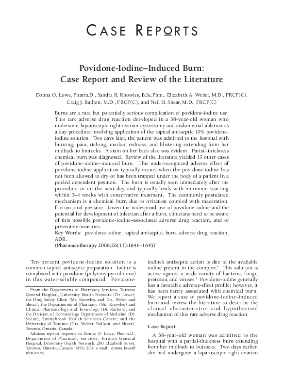 PDF) Povidone-Iodine–Induced Burn: Case Report and Review of the