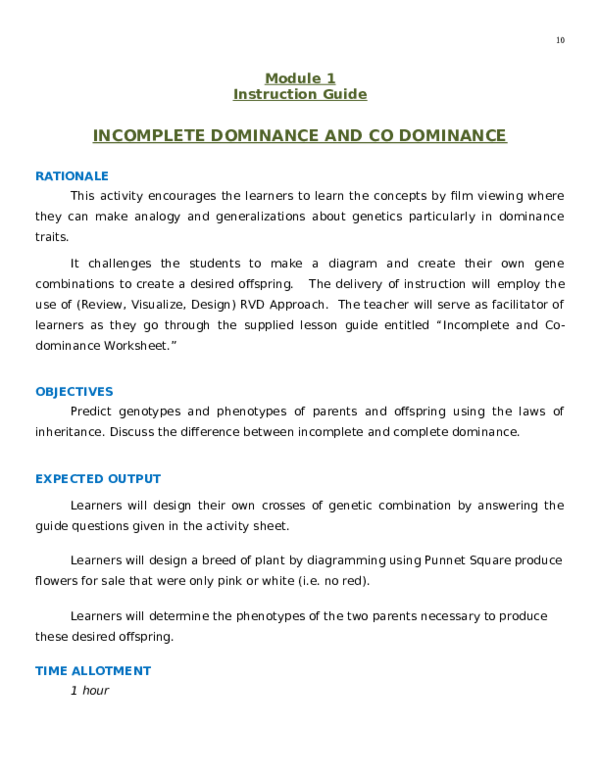 DOC) Module 1 instruction Guide, INCOMPLETE DOMINANCE AND CO