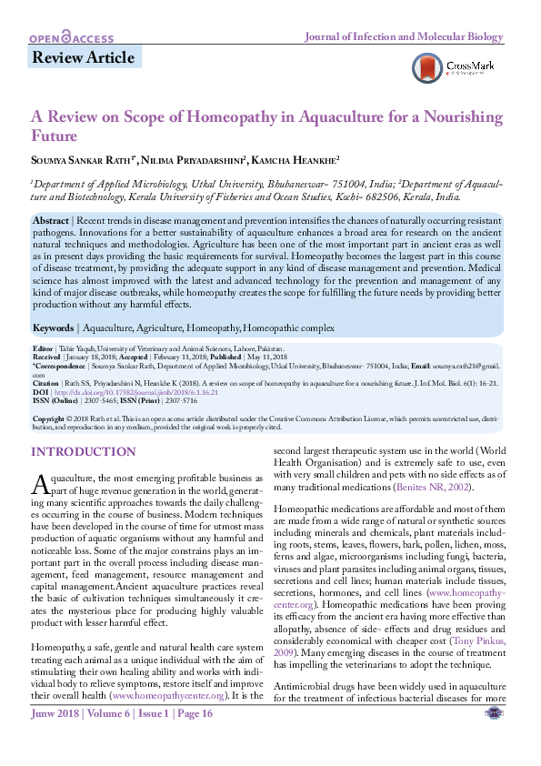 PDF) A Review on Scope of Homeopathy in Aquaculture for a