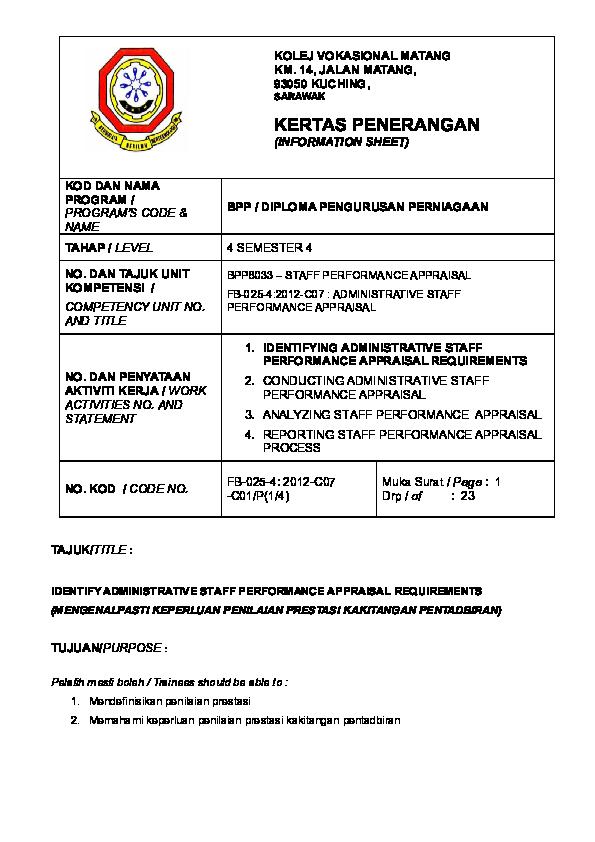 Doc Kertas Penerangan 1 802 Administrative Staff Performance Doc